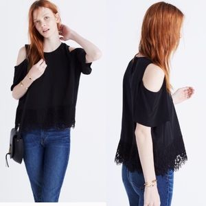 Madewell Lace Edged Silk Cold Shoulder Top EUC L